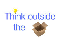3D illustration showing the text Think Outside The Box. With an acutal box.  Isolated on white. Version two Stock Images