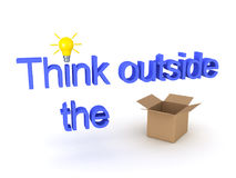 3D illustration showing the text Think Outside The Box with an a. 3D illustration showing the text Think outisde the box with an acutal replacing the word box Stock Photo