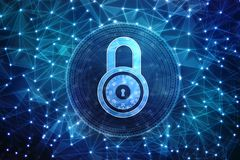 2d Illustration Sicherheitskonzept: Geschlossenes Vorhängeschloß auf digitalem Hintergrund, Internet-Sicherheitshintergrund Stockbilder