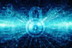 2d Illustration Sicherheitskonzept: Geschlossenes Vorhängeschloß auf digitalem Hintergrund, Internet-Sicherheitshintergrund Lizenzfreies Stockfoto