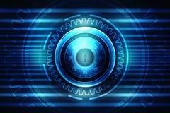 2d Illustration Sicherheitskonzept: Geschlossenes Vorhängeschloß auf digitalem Hintergrund, Internet-Sicherheitshintergrund Lizenzfreies Stockbild