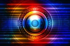 2d Illustration Sicherheitskonzept: Geschlossenes Vorhängeschloß auf digitalem Hintergrund, Internet-Sicherheitshintergrund Stockfotografie