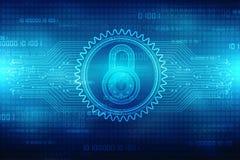 2d Illustration Sicherheitskonzept: Geschlossenes Vorhängeschloß auf digitalem Hintergrund, Internet-Sicherheitshintergrund Lizenzfreie Stockfotos
