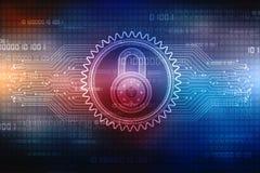 2d Illustration Sicherheitskonzept: Geschlossenes Vorhängeschloß auf digitalem Hintergrund, Internet-Sicherheitshintergrund Stockfotos