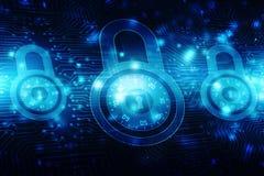 2d Illustration Sicherheitskonzept: Geschlossenes Vorhängeschloß auf digitalem Hintergrund, Internet-Sicherheitshintergrund Lizenzfreie Stockbilder