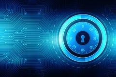 2d Illustration Sicherheitskonzept: Geschlossenes Vorhängeschloß auf digitalem Hintergrund, Internet-Sicherheitshintergrund Lizenzfreie Stockfotografie