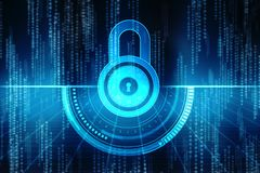 2d Illustration Sicherheitskonzept: Geschlossenes Vorhängeschloß auf digitalem Hintergrund, Internet-Sicherheitshintergrund Stockfoto