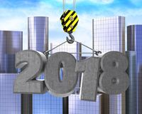 3d crane hook with 2018 sign. 3d illustration of 2018 sign with crane hook over city background Stock Photo