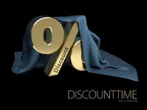 3d Illustration of Sign, percent symbol discount under the cloth, isolated black Royalty Free Stock Image
