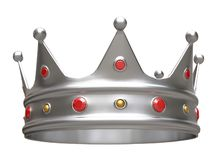 3D illustration, silver crown isolated on white. royalty free illustration
