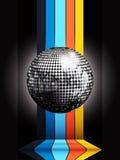 Silver disco ball on multicoloured stripes over black Stock Photos