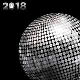 2018 background with silver disco ball and date. 3D Illustration of Silver Disco Ball and 2018 Twenty Eighteenth in Silver Numbers with Tree Over Black Royalty Free Stock Image
