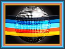 Silverd disco ball wrapped in multicoloured stripes on black fra Stock Photography