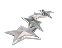 3d illustration of silver stars rating symbol.  Stock Photo