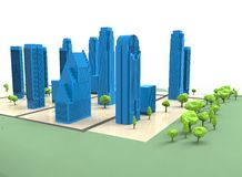 3d illustration of simple city with trees. Stock Images