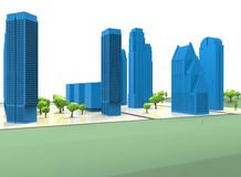 3d illustration of simple city with trees. Stock Photos