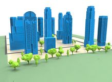 3d illustration of simple city with trees. Stock Photo