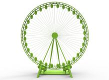 3d illustration of simple ferris wheel. Low poly triangles and polygons style.usa style. icon for game web. green color. white background  with shadow. simple Stock Photos