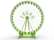 3d illustration of simple ferris wheel with Texas word. Low poly triangles and polygons style.usa style. icon for game web. green color. white background  with Royalty Free Stock Photos