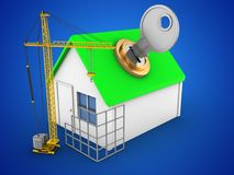 3d construction site. 3d illustration of simple house over blue background with key and construction site Stock Photos