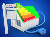 3d simple house. 3d illustration of simple house over blue background with power ranks and sale sign Royalty Free Stock Images
