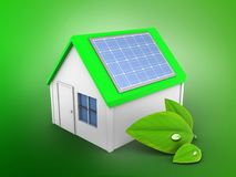 3d simple house. 3d illustration of simple house over green background with alternative energy Stock Photography