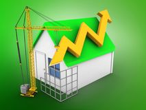 3d simple house. 3d illustration of simple house over green background with arrow graph and construction site Royalty Free Stock Photos