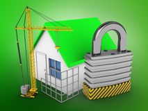 3d simple house. 3d illustration of simple house over green background with padlock and construction site Royalty Free Stock Photography