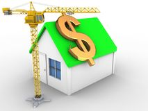 3d simple house. 3d illustration of simple house over white background with dollar sign and crane Stock Photography