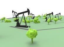 3d illustration of simple oil derricks. Royalty Free Stock Photo