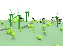 3d illustration of simple oil derricks with wind generators. Royalty Free Stock Images