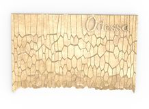 3d illustration of simple rock wall with Odessa word. Stock Image