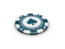 3d Illustration of single blue casino chip isolated on white background. Royalty Free Stock Photos