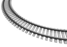 3D Illustration of a Single curved railroad track isolated Royalty Free Stock Photos