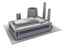 Factory. 3d illustration of single factory building, over white background Royalty Free Stock Photography