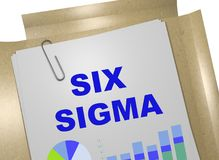 SIX SIGMA concept. 3D illustration of SIX SIGMA title on business document stock illustration