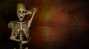 3d illustration of a skeleton gesturing Royalty Free Stock Photography