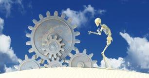 3d illustration of a skeleton gesturing stock illustration