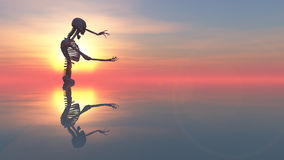3D illustration of skeleton. And sunset Stock Photography