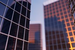 3D Illustration Skyscrapers from a low angle view. Architecture glass high buildings. skyscrapers in a finance district.  stock illustration