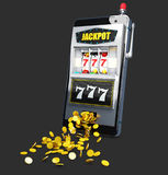 3d illustration of Slot machine with lucky sevens jackpot and coins. royalty free illustration