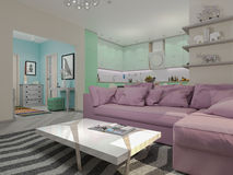 3d illustration of small apartments in pastel colors. Stock Photo