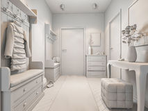 3d illustration of small apartments without textures in white color Royalty Free Stock Photography