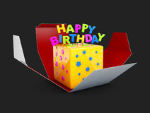 3d Illustration of Small delicious birthday cream cake in the opened box, isolated black Royalty Free Stock Images
