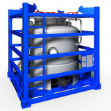 3d illustration of small tanks container. 3d illustration of portable tank container isolated Stock Image