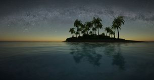 Tropical island at night stock illustration