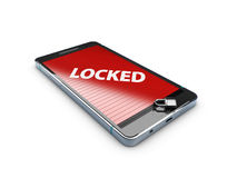 3d Illustration of smart phone with lock, abstract background.  Royalty Free Stock Images