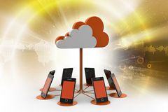Smart phones network with cloud computing. 3d illustration of Smart phones network with cloud computing Stock Images
