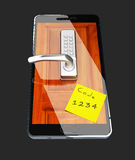 3d Illustration of Smartphone with closed lock, isolated black. 3d Illustration of Smartphone with closed lock. isolated black Stock Photo