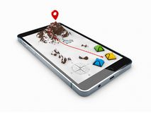 3d illustration of smartphone with mobile navigation app on screen. Route map with symbols. 3d illustration of smartphone with mobile navigation app on screen royalty free illustration
